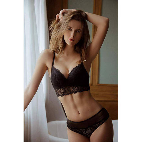 Lace Pushup Floral Wirefree Bra and Panties Set - Black