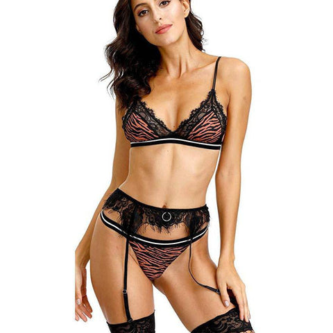 Leopard WomenLace W/ Garter Belts - Orange