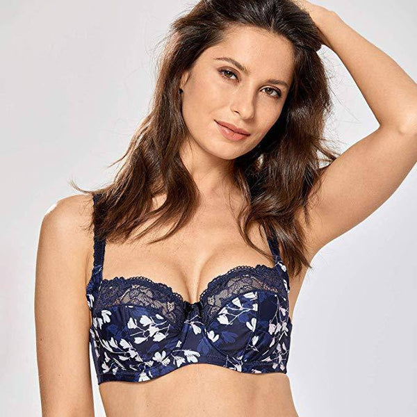 Lace Balconette Non Padded Bra - MultiColored