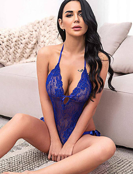 Deep V Lace Lingerie Bodysuit - Dark Blue