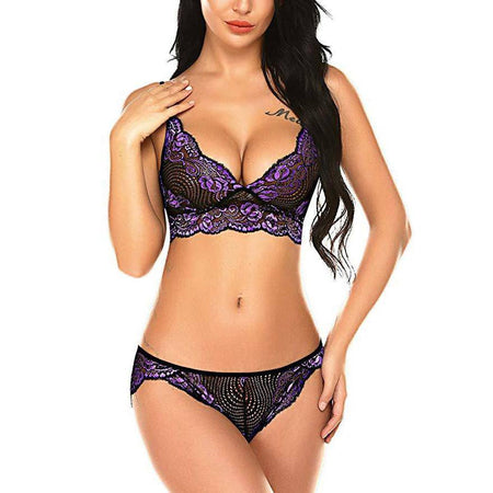 V NecK Lace Babydoll Lingerie Set - Purple