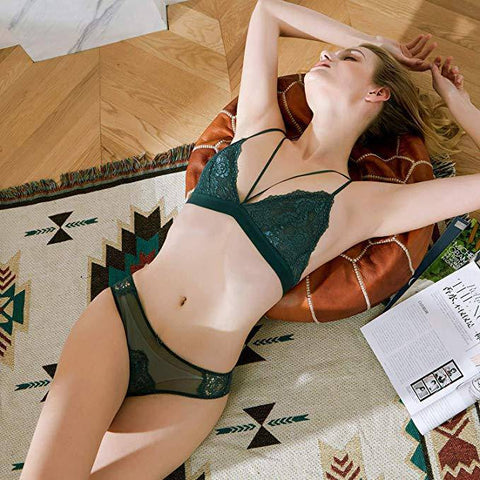 Lace Triangle Unlined Wirefree Bra and Panties Set - Green - E11even Fashion