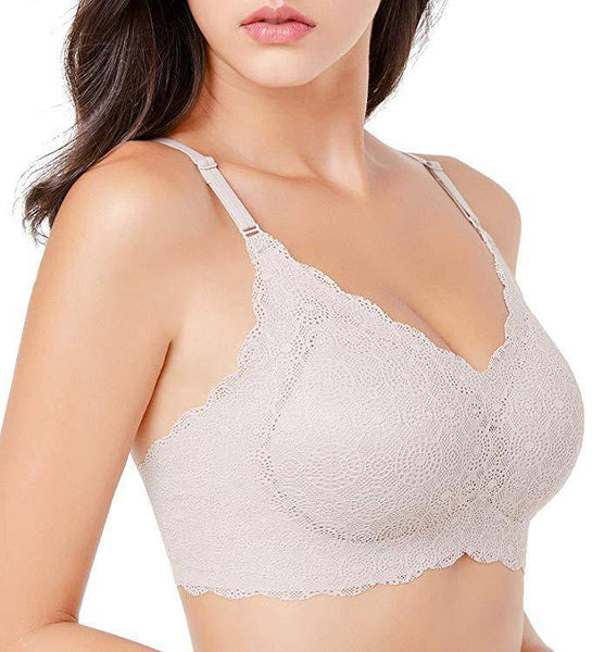 Lace Wirefree Bra - Gray