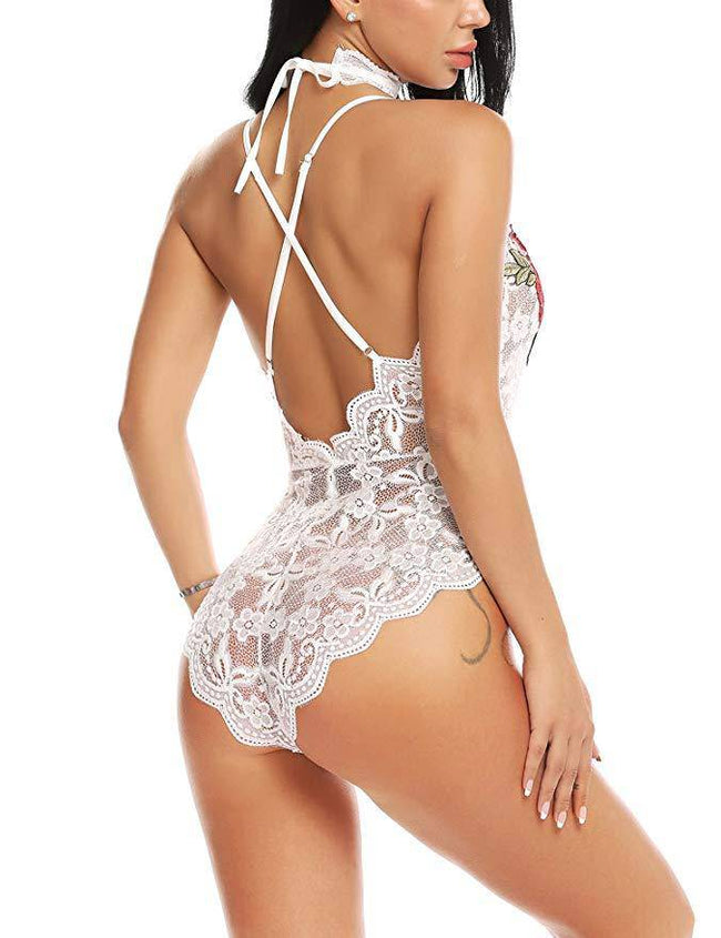 Embroidered Lace W/ Choker Lingerie Bodysuit - White