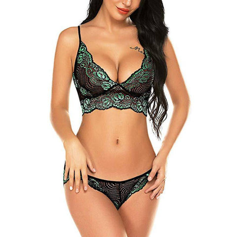 Strappy Lace Bralette Lingerie Set - Green