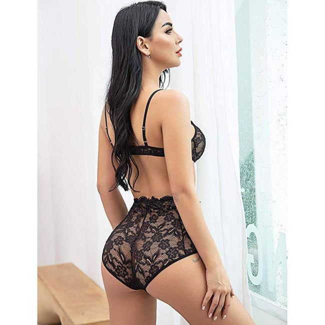 Floral Lace Bralette High Waist Panty Set - Black