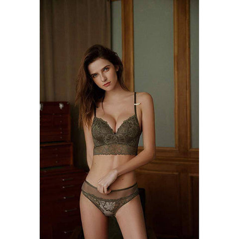 Lace Pushup Floral Wirefree Bra and Panties Set - Green