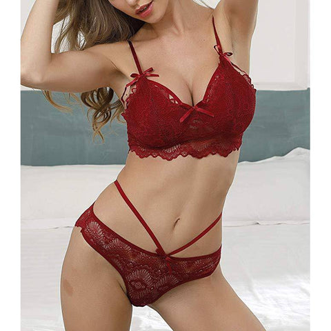 Stretchy Floral Lace Bra and Panties Set - Red - E11even Fashion