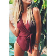 Bowknot V Neck One Piece Swimsuit - E11even Fashion