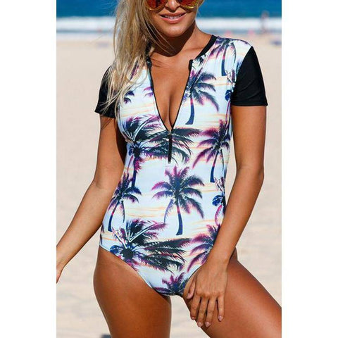 Sunset Zip Front Half Sleeve One Piece Swimsuit