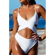 Criss Cross High Waisted Cut Out Swimsuit - White