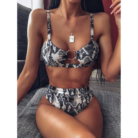 Snakeskin Print Brazilian Hollow Out Bikini Set