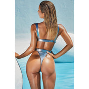 Liquid Girdle with Belt Metallic Bikini Set