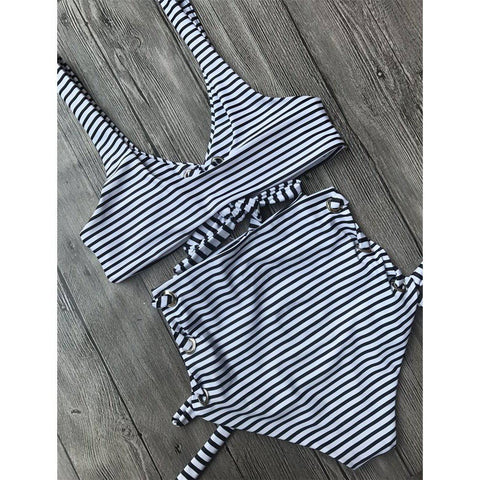 High Waist Striped Strappy Bandage Bikini Set