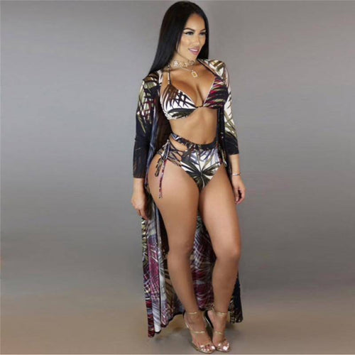 High Waist Forest Print Swimwear & Cover Up