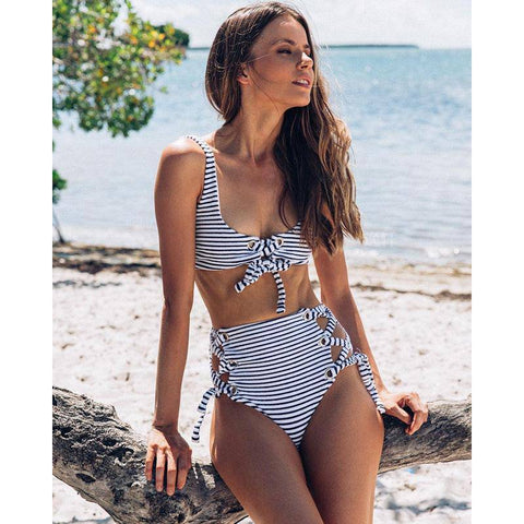 High Waist Striped Strappy Bandage Bikini Set - E11even Fashion