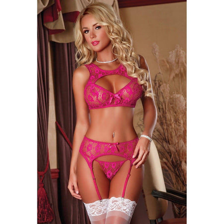Negligee Lace Eyelash Bodysuit - Purple