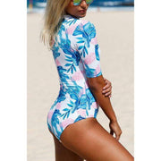 Blue Zip Front Half Sleeve One Piece Swimsuit