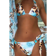 Leopard Crystal Sparkle Sequins Bikini Set