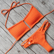 Keyhole Halter Tie Crochet Bikini - E11even Fashion
