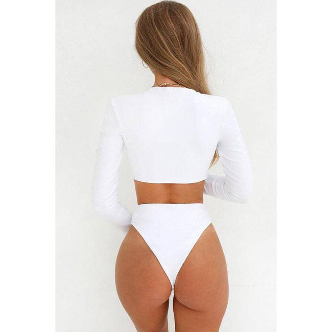 Deep V Neck Cutout Long Sleeve Swimsuit