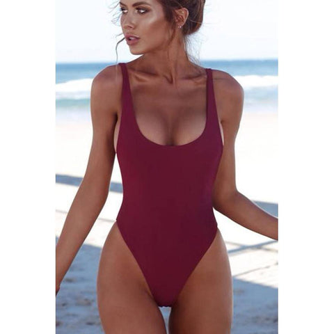 Red Halter Straps U Neck One Piece