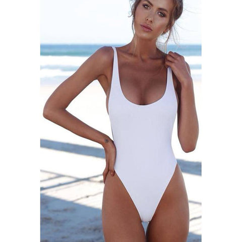 White Halter Straps U Neck One Piece