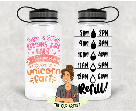 Sugar is Sweet Lemons are Tart Unicorn Fart in Pink Orange - 34 oz - Time Tracker Water Bottle