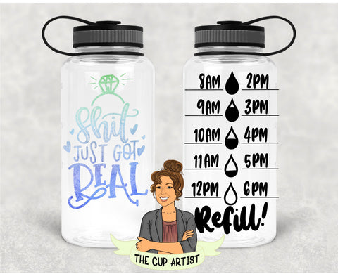 Engaged Shit Just Got Real in Blue Green - 34 oz - Time Tracker Water Bottle