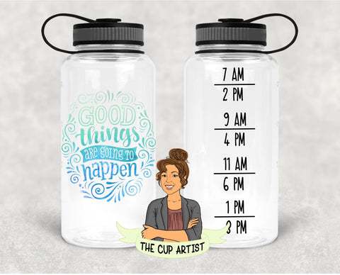 Good Things are Going to Happen in Blue Green - 34 oz - Time Tracker Water Bottle
