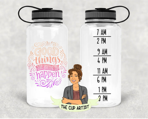 Good Things are Going to Happen in Pink Orange - 34 oz - Time Tracker Water Bottle