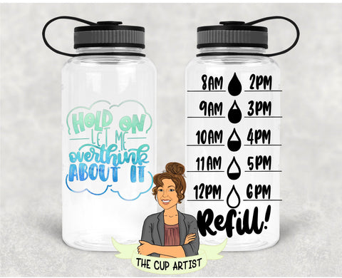 Hold On Let Me Overthink About It in Blue Green - 34 oz - Time Tracker Water Bottle