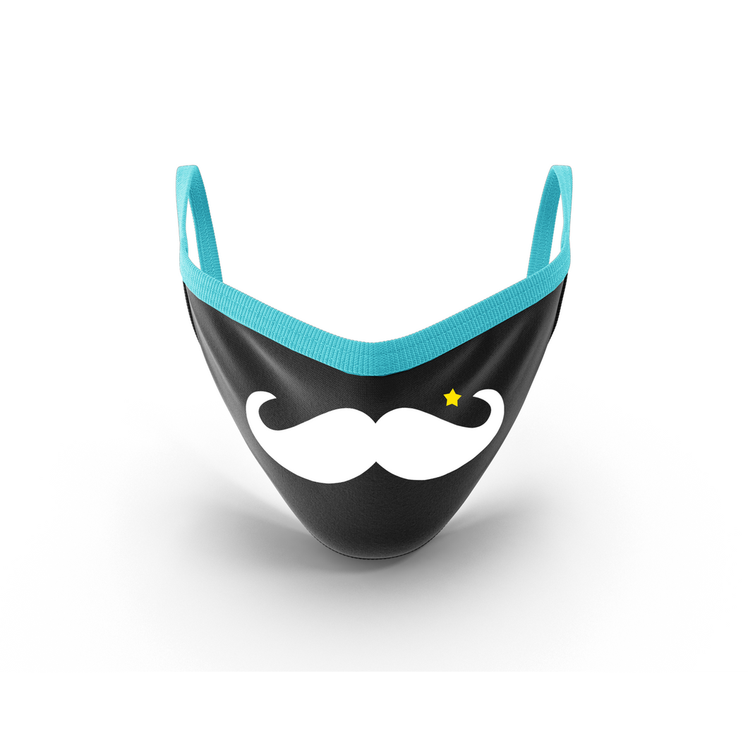 MOONLIT PLANET Two-Layer Washable Fashion Face Mask: MUSTACHE