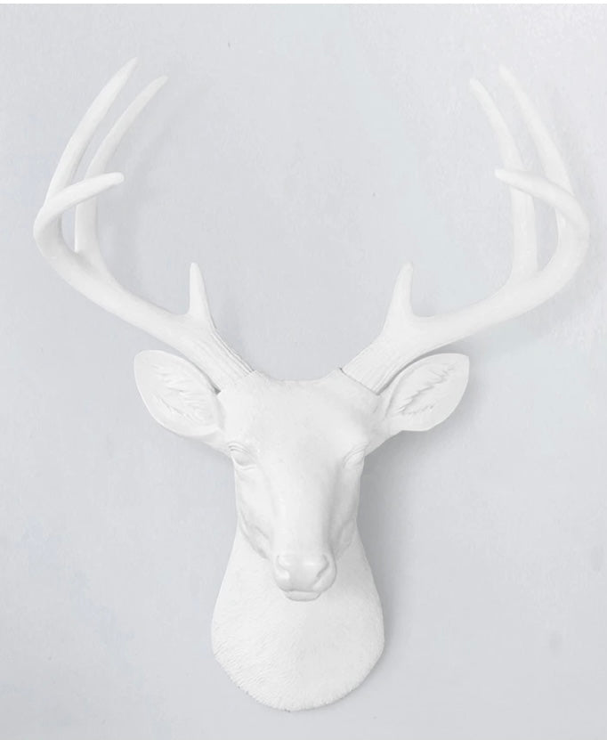 White Faux Deer Head small and large