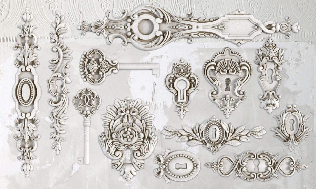 Lock & Key Décor Mould 6x10