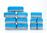 [Saver Applicator] Microfiber Wax Or Coating Applicator Sponge with Plastic Barrier - Blue & Gray [12 pack]