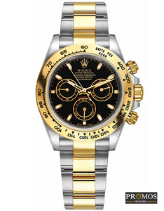 Daytona 24 Silver With Gold Style & Black Dial -Automatic Movement Watches