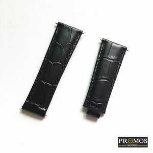 Brands 20Mm Genuine Leather Strap For Daytona Submariner Gmt And More With Spring Bar Black