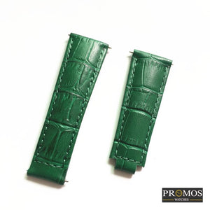 Brands 20Mm Genuine Leather Strap For Daytona Submariner Gmt And More With Spring Bar Green