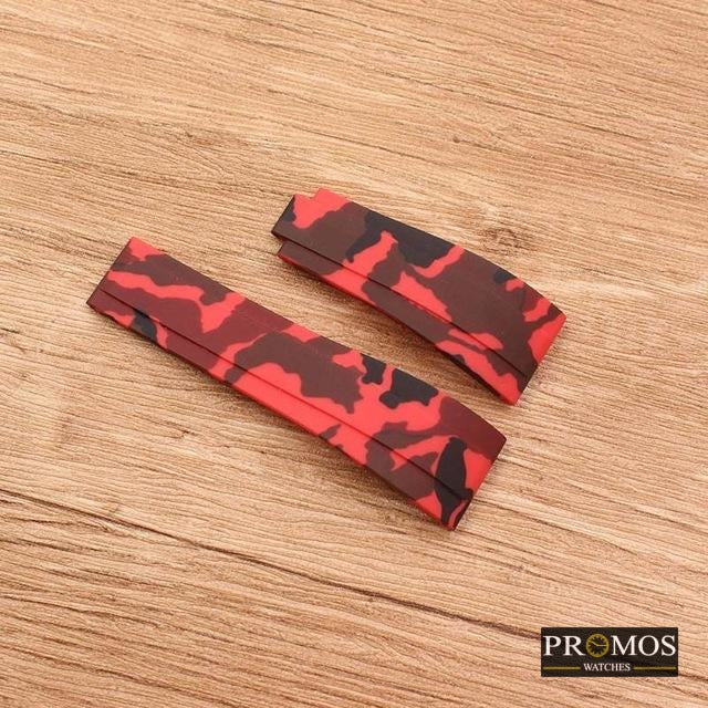 Silicone Rubber Watchband Watch Band For Daytona Submariner Gmt And More Red Camo / 20Mm