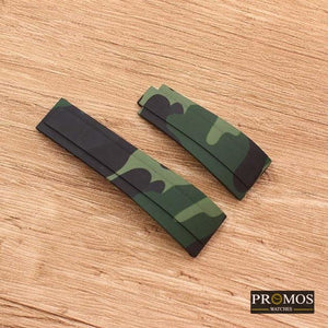 Silicone Rubber Watchband Watch Band For Daytona Submariner Gmt And More Army Green Camo / 20Mm