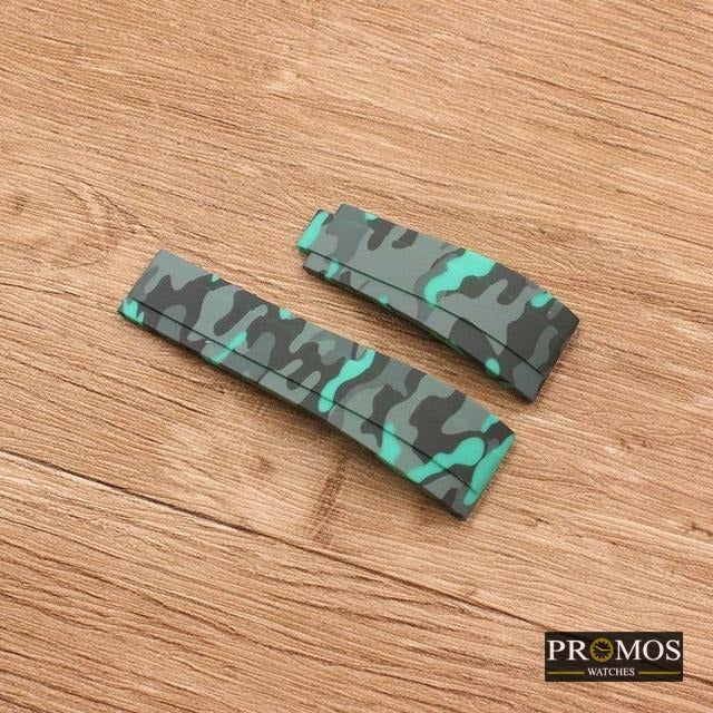 Silicone Rubber Watchband Watch Band For Daytona Submariner Gmt And More Green Camo / 20Mm