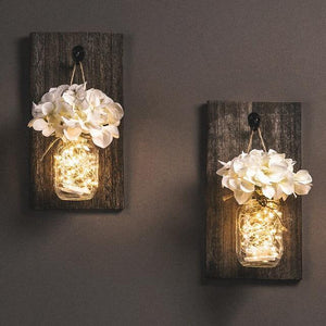 Decor - Mason Jar Com Luzes Led E Flores