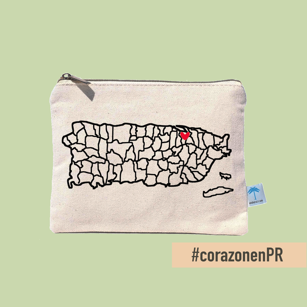 Canvas pouch bag with the map of Puerto Rico. It includes a shiny, red enamel pin you can place on the town of your choice.