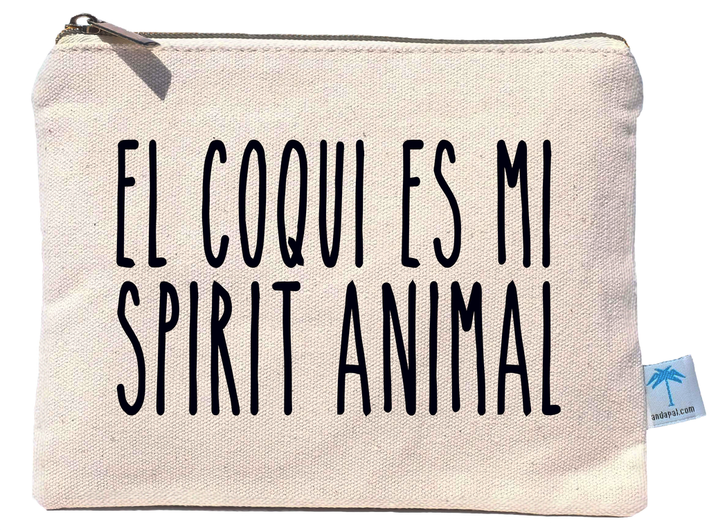 """El Coqui es mi Spirit Animal"" canvas pouch bag"