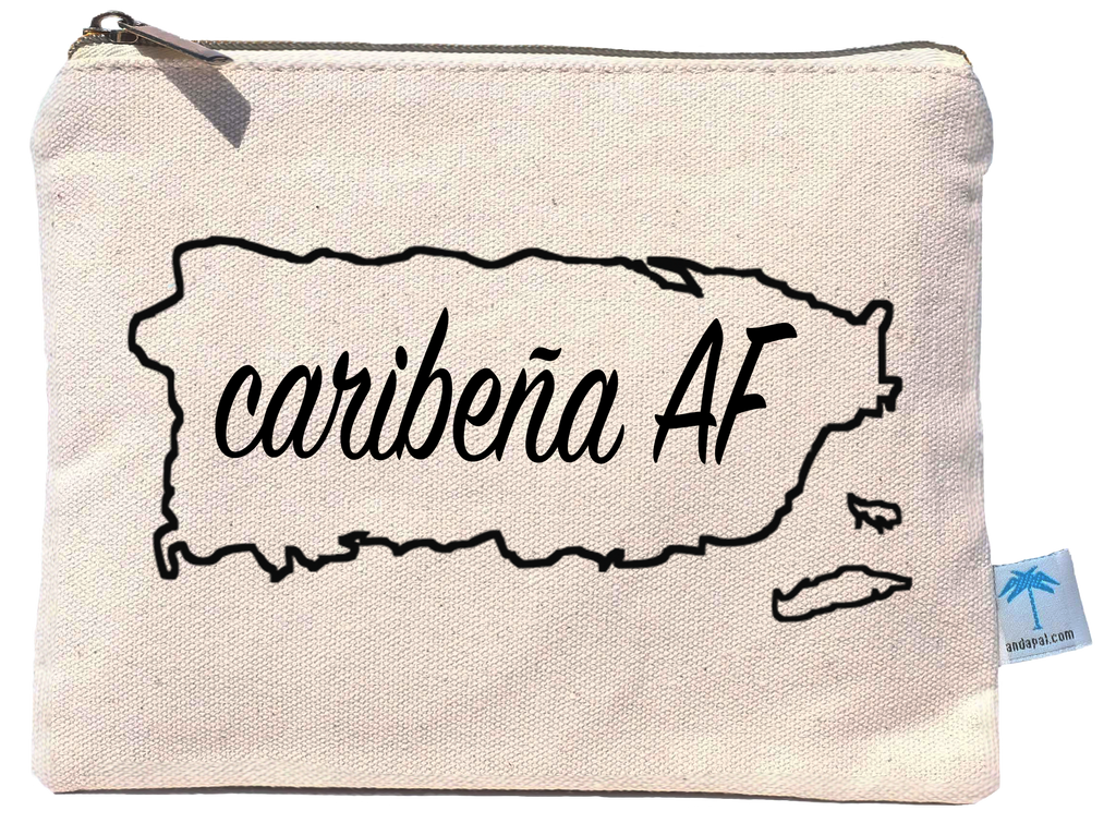 """Caribeña AF"" canvas bikini bag with water resistant lining"
