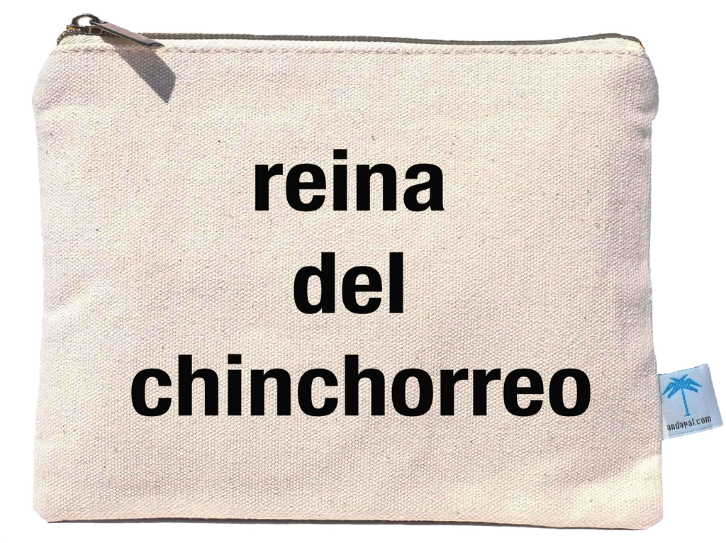 """Reina del Chinchorreo"" canvas pouch bag"