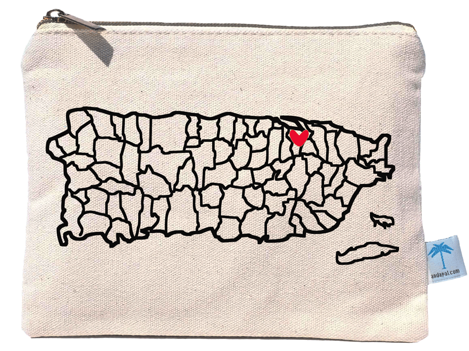 8'x6' pouch bag with a screen printed design of the map of puerto rico