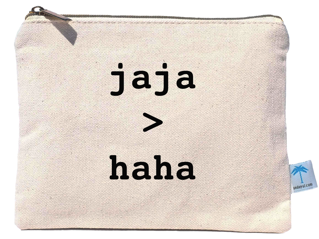 "Anda Pa'l - ""Jaja>Haha"" canvas pouch bag"
