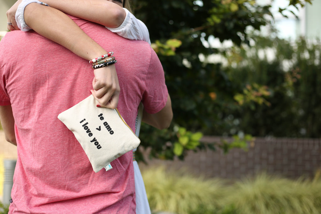 """Te Amo>I love You"" canvas pouch bag"